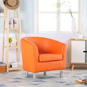 Image Is Loading Premium Orange Leather Tub Chair Armchair Dining Living