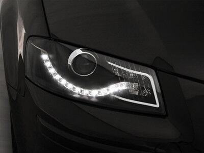 Audi A3 8P Scheinwerfer mit LED Tagfahrlicht Black / Schwarz+TFL Zulassung