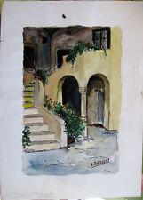 Acquerello '900 su carta Scorcio di casa con scala e archi firmato A.Bergamo (6)