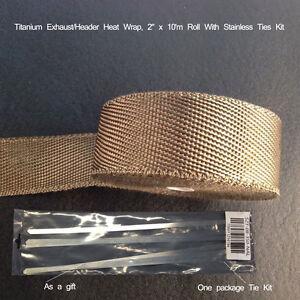 5CM X 10M Titanium Lava Exhaust Header Pipe Heat Wrap Stainless Ties Kit Car WYS