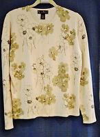 Mercer & Madison Ivory / Pail Green Knit Top Cardigan Sweater. Size M.