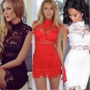 Sexy-Women-039-s-Bandage-Bodycon-Lace-Evening-Party-Cocktail-Summer-Mini-Dress-UK