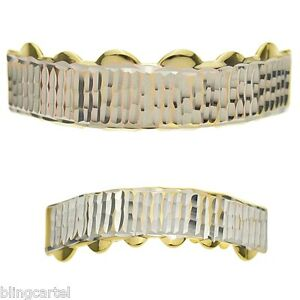 Diamond-Cut Grillz Set Teeth 14k Gold Plated Grill Top & Bottom Mouth Grills