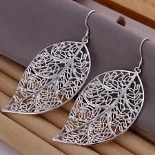 925 Silver Filled Earrings Leaves Ear Drop Women's Fashion Jewelry Gift