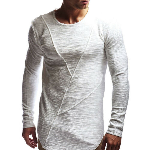 Mens Longline Casual Long Sleeve Shirts Muscle GYM Sport Blouse Tee Tops T-Shirt