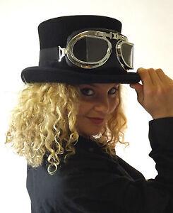 New-Wool-Felt-Black-Top-Hat-Steampunk-Fashion-Goggles-Glasses-Clear-Black-Red