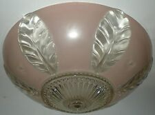 LIGHT FIXTURE CEILING GLASS VINTAGE LENS BEAD BALL CHAIN PINK PLANT LEAF PATTERN