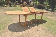 Gradea Teak Wood MAS Double Extension Oval Dining Table - Teak oval extension dining table