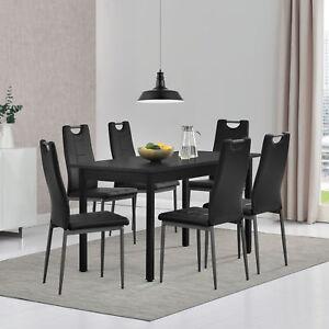 Tavolo da Pranzo con 6 Sedie Nero 140x60cm Tavolo da Cucina Sedia ...
