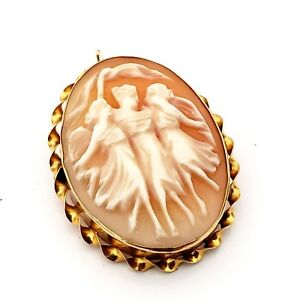 Vintage yellow metal cameo shell broochpendant 3 graces