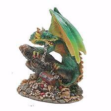Mini Green Dragon Statue On Chain with Treasures Chest  Figurine 67804 Free S&H