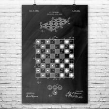 Checkers Board Poster Print Chess Player Gift Gaming Decor Chess Club Art