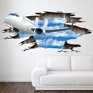 Wall Stickers Plane 3d Decal Wallpaper Poster Decor Floor Living