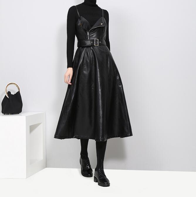 Elegant Womens Sling dress Long Big swing Skirts Slim Fit Casual Belt Trench PU