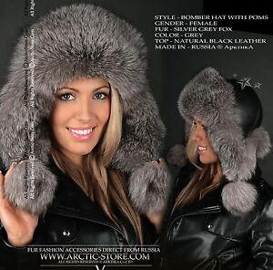 78097791 Bomber Fur Hat Grey Fox Chapka Ushanka Winter Russian women NEW ...