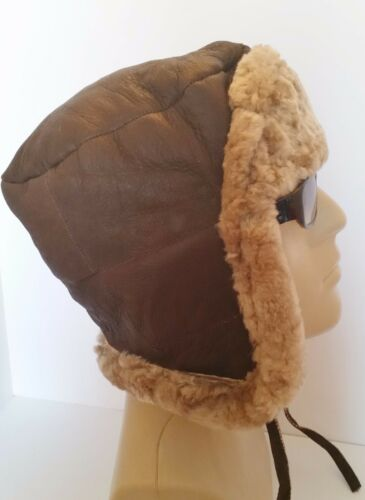 NEW men/'s Sheepskin Russian Trapper Bomber Pilot Aviator Hat Real Leather L-XL