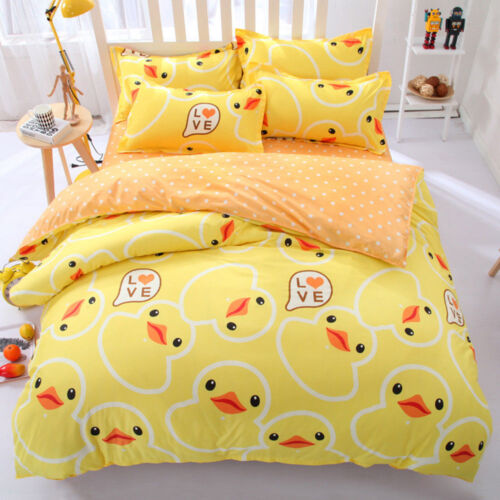 Children Rubber Duck Cartoon Animal BeddingSet PillowCase Sheet Duvet Cover