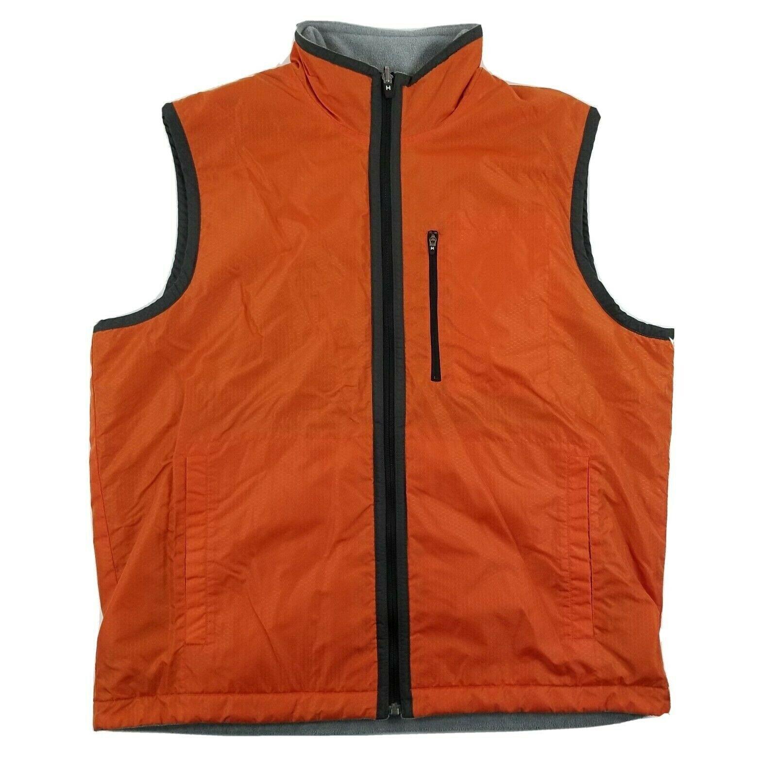 Tommy Hilfiger Men's Large Orange Nylon Gray Flee… - image 1