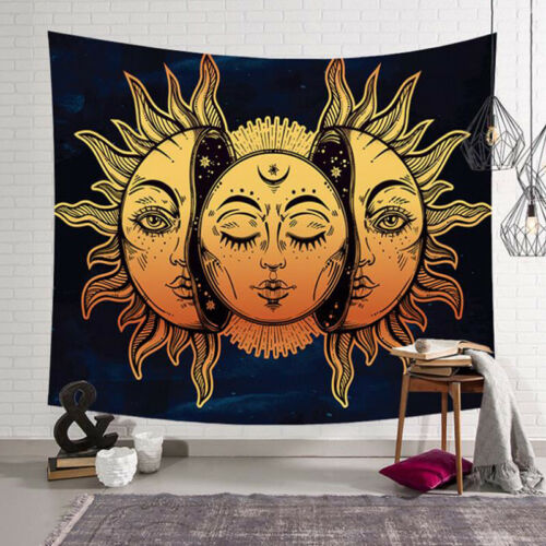 Sun and Moon Bohemian Tapestry Gypsy Hippie Wall Hanging Bedspread Throw Covers