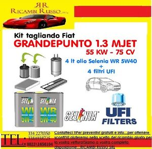 KIT-TAGLIANDO-FIAT-GRANDE-PUNTO-1-3-MULTIJET-FILTRI-OLIO-SELENIA-WR-5W40