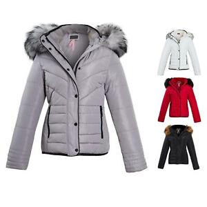 Shelikes-Womens-Ladies-Quilted-Padded-Winter-Warm-Fur-Parka-Jacket
