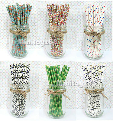 25 Vintage Flower Bamboo Cow Brick Stars Party Wedding Baby Shower Paper Straws