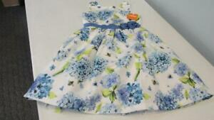 Gymboree-2018-EASTER-DRESSY-Formal-White-Blue-Hydrangeas-amp-Bees-SZ-8-NWT-TL54