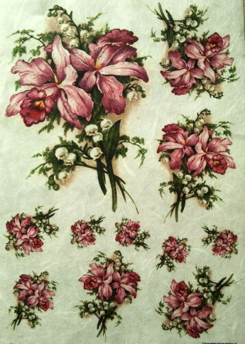 VINTAGE FLOWER DECOUPAGE SHEETS SCRAPBOOKING RICE DECOUPAGE PAPER CRAFT