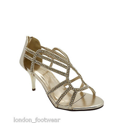 Womens Ladies Diamante Strap Shoes Heel Ankle Sandal Gold Silver Wedding Party