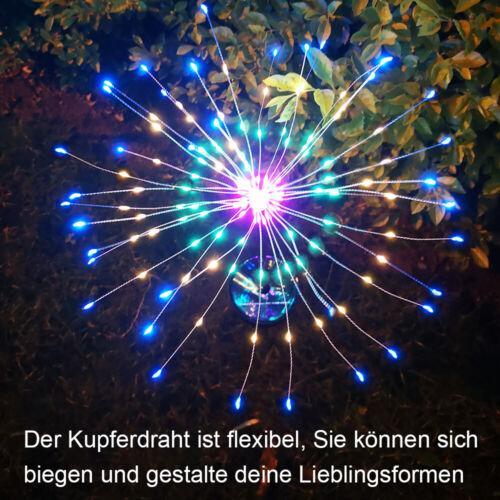 2er Set Solar Feuerwerk Licht Lichterkette mit 8 Modi Kupferdraht Fairy Lichte