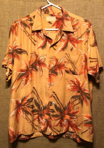 Vintage 1960's Aloha Light Orange Palm Trees Rayo… - image 1