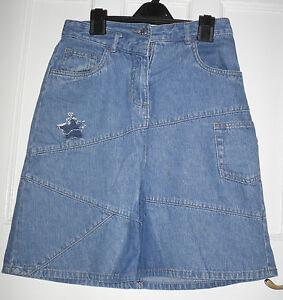 ws04 Cherokee Womens Blue Denim Cotton Denim Skirt Size:8/36 Durchsichtig In Sicht
