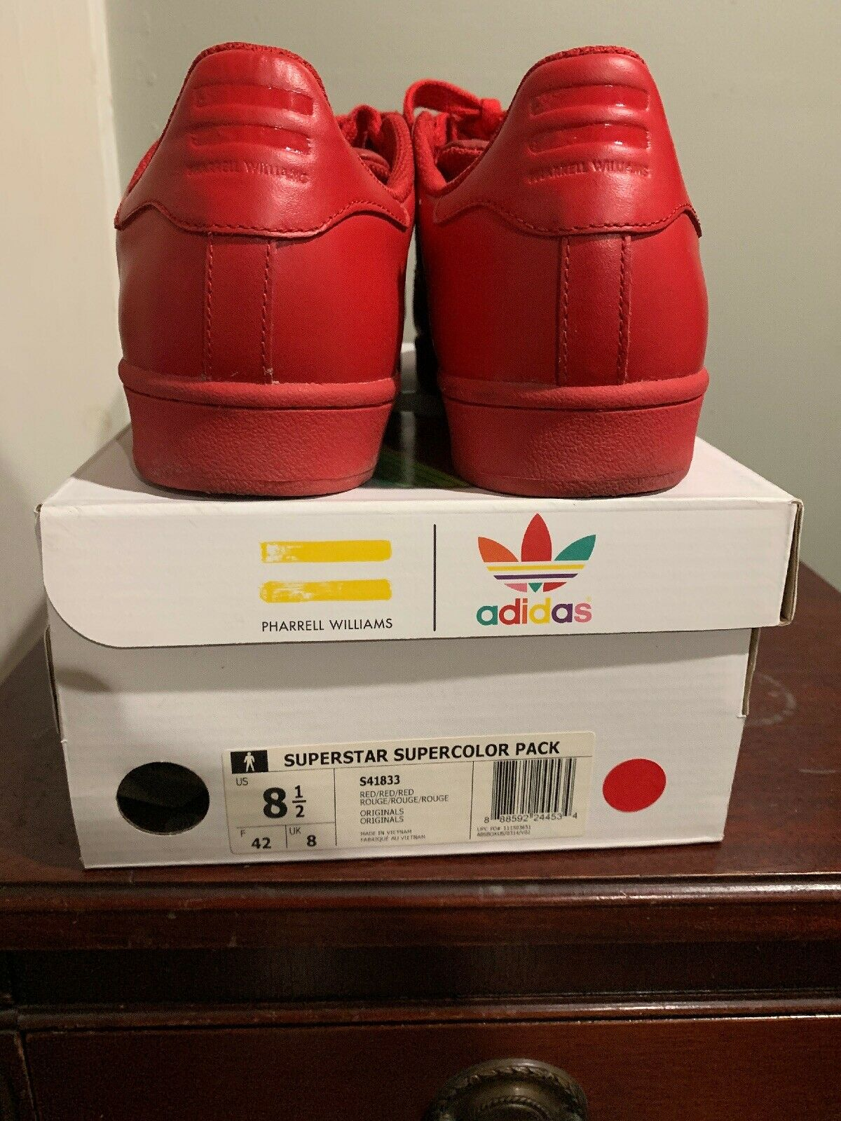 le dernier 69f19 c6554 ADIDAS x PHARRELL WILLIAMS SUPERSTAR SUPERCOLOR Pack Red Shoes 8.5 S41833