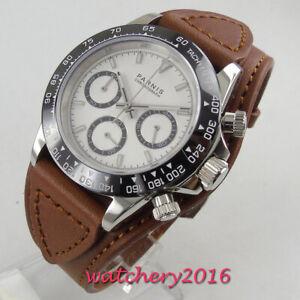 39mm-parnis-Sapphire-solid-full-Chronograph-Leder-Quartz-movement-men-039-s-Watch