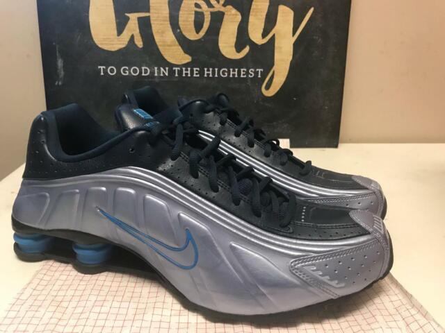 Mens Nike Shox R4 Premium Sneakers New, Gray Navy Blue 104265 402 sku AA