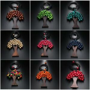 Wooden Bead Tree of Life Statement Pendant Necklace Womens Boho Long Drop Ladies