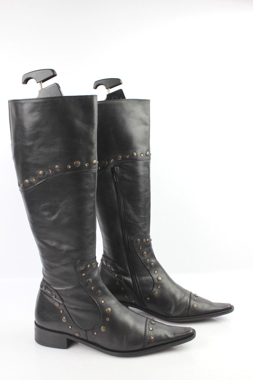 Stiefel t MYMA Leder Nietenbesetzt und Strass schwarz t Stiefel 37 sehr guter Zustand f889f6