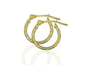 Details About 14k Yellow Or White Gold Diamond Cut Hoop Earrings