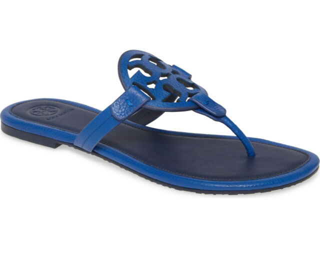 NIB Tory Burch Miller Leather Thong Sandal Nautical Blue US 8 AUTHENTIC $240