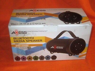 AXESS SPBT1056BL  Portable Bluetooth Speaker Built-In Usb Support Fm Radio Li...