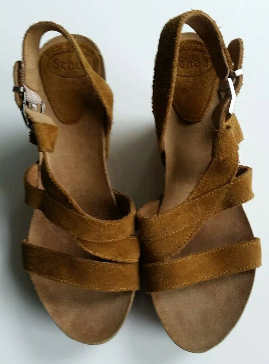 DR.SCHOLL Leder  Schuhe Sandale Keilabsatz Plateau Gr.38 braun Neu