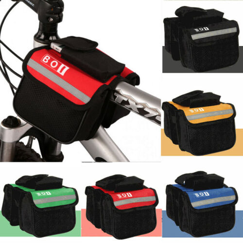 Bicycle Bike Cycling Front Frame Tube Handlebar Pannier Double Pouch Outdoor New