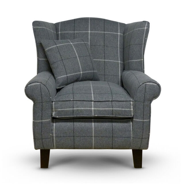 High Wing Back Fireside Chair Slate Topaz Fabric Easy ...