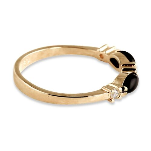 14K GOLD GP ONYX MARQUISE SHAPED CRYSTAL ACCENT RING SIZE 5 6 7 8 9 10