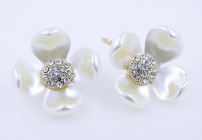 Gorgeous gold and white flower hook earrings with crystal centre