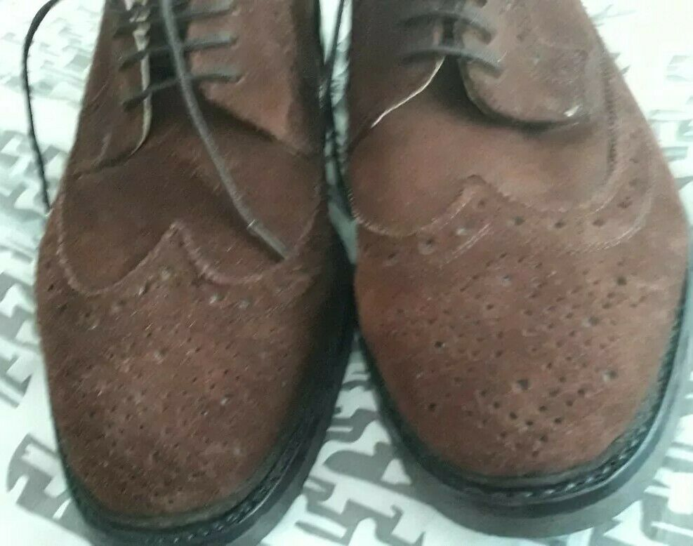 Handmade designer brown suede leather brogues new chelsea oxford 7.5 8 41.5 42