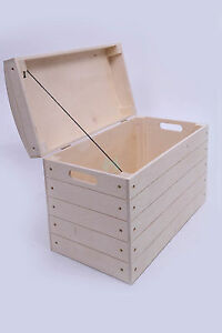 Wooden storage box, chest, blanket, toy, trunk lidded natural wood ...