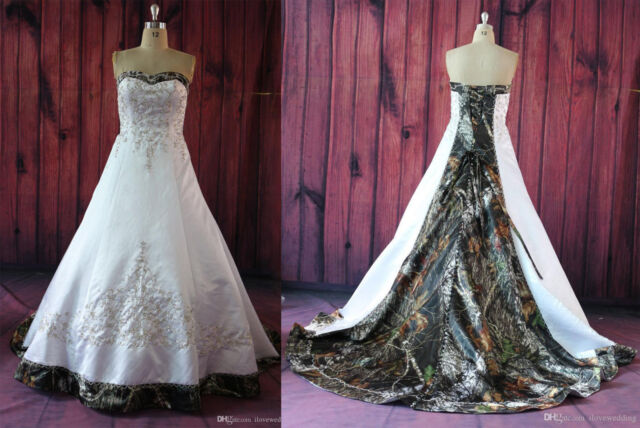 Fashion White Camo Wedding Dresses Embroidery Camouflage Appliques ...