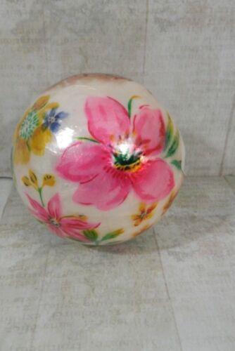 Pier 1 Decorative Sphere Bunny Girl Spring Flowers Rabbit Opal Ball Easter New