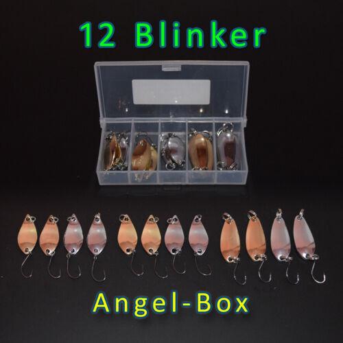 12 Blinker in einer AngelboxGold Silber3,5cmSpinner SpoonsAngel-Box